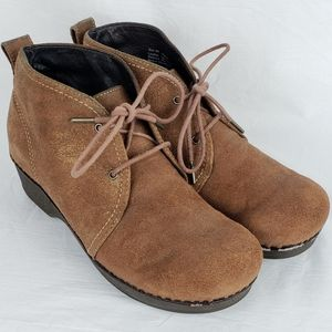 Dansko Lucille Brown Suede Lace Up Ankle Boots